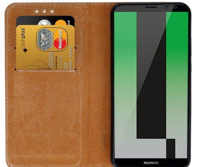 Fall Decken Case Cover Tasche Natur Leder Huawei Mate  Lite Rot
