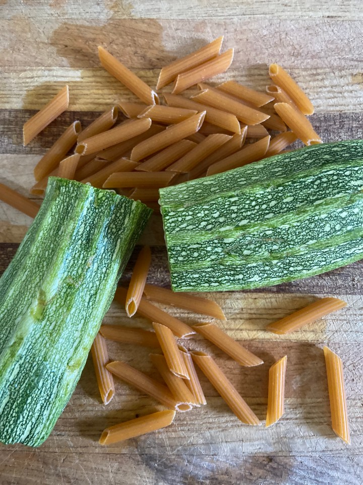 zucchini and noodles for vegan cheese sauce