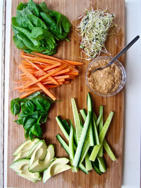 Healthy & Easy Vegan Spring Rolls with Ginger Almond Sauce (gluten + soy free)   veganchickpea.com