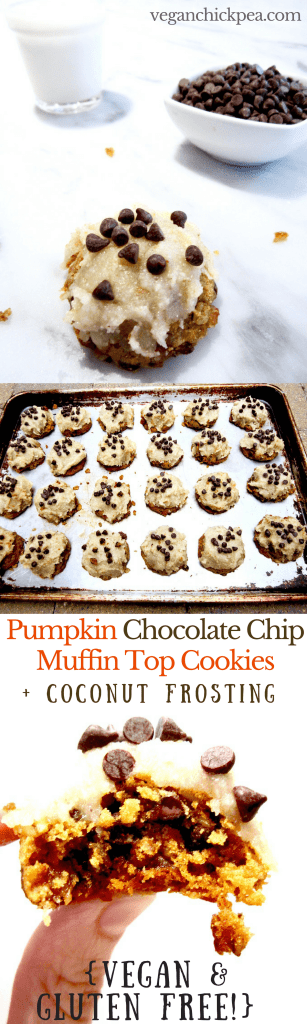 Vegan & Gluten Free Pumpkin Chocolate Chip Muffin Top Cookies with Coconut Frosting - soft baked cookies with a muffin top texture make a sweet, delightful treat for fall! Impression your non vegan and gluten free friends with this recipe. | veganchickpea.com