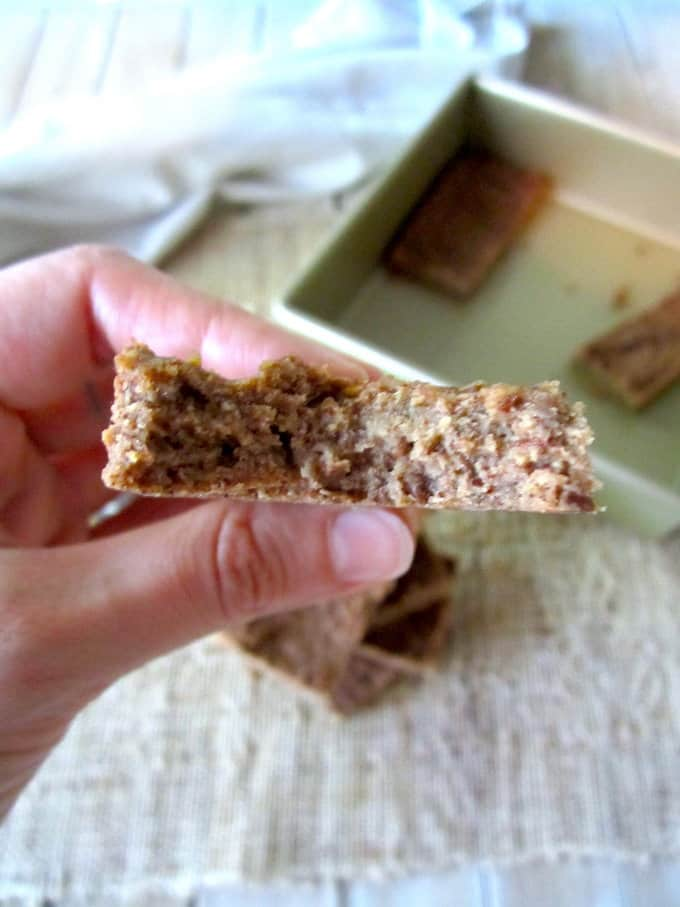 5 Ingredient Sugar Free Cinnamon Protein Bars recipe - These super simple bars use only whole foods and are packed with 15 grams of protein per bar! {flourless, sugar free, gluten free, vegan} | veganchickpea.com