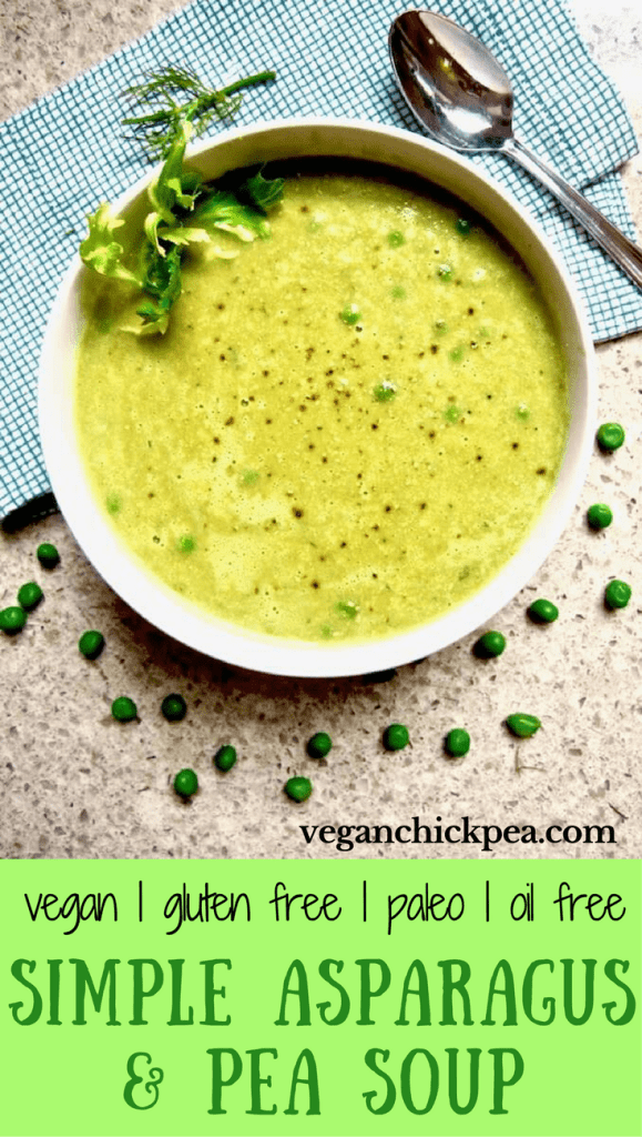 Simple Asparagus & Pea Soup recipe - the perfect healthy soup using seasonal spring produce, ready in 30 minutes! {oil free, vegan, gluten free, paleo, nut free option} | veganchickpea.com