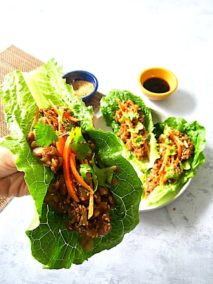 Vegan Lettuce Wraps with Umami Lentils Up Close