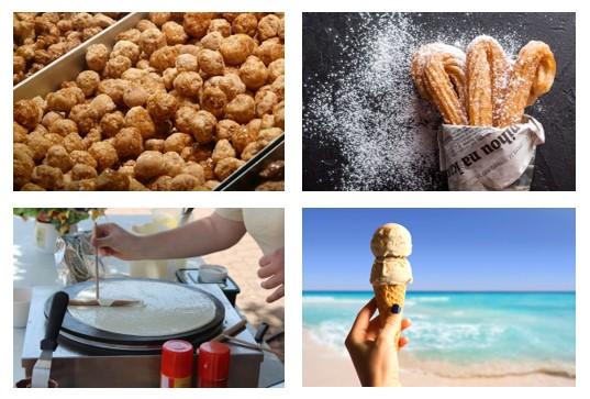 chouchous, churros, crêpes, glaces