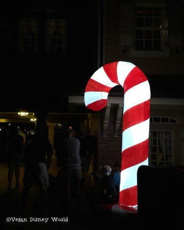 Treat Stops are marked with giant candy canes outside