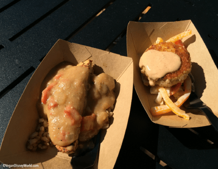 Chick'n Curry and Vegan Crab Cake