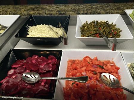 Cabbage, Beet Salad, Green Bean Salad and Tomato Salad