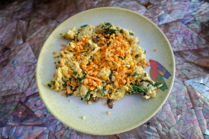 Picture of vegan scramble with vegan cheese
