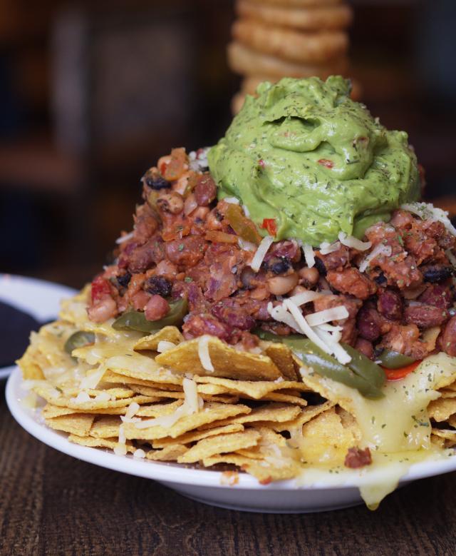 Vegan nachos at the Auld Hoose