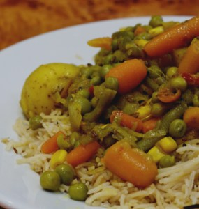 Vegan Vegetable curry at the Mosque Kitchen, Edinburgh