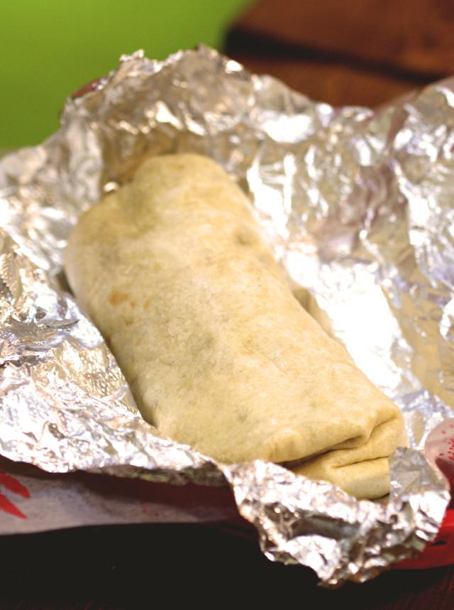 Unwrapped vegan burrito at Taco Mazama, Edinburgh