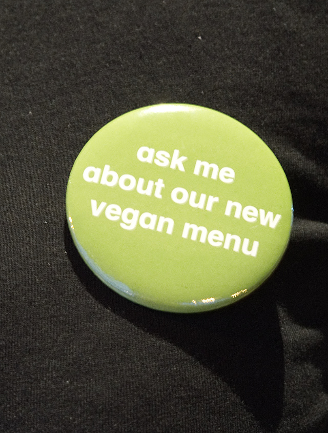 Ask me about our new vegan menu button