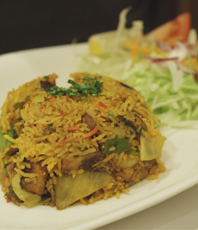 Vegan biryani at Voujon, Edinburgh