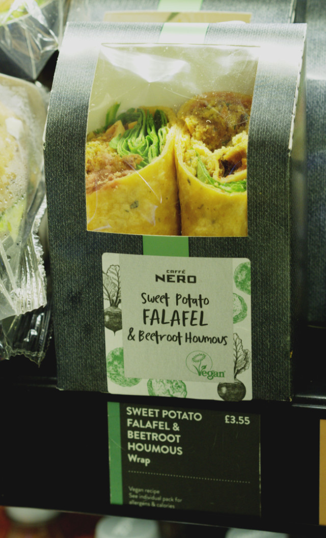 Vegan sandwich at Cafe Nero, Edinburgh Airport