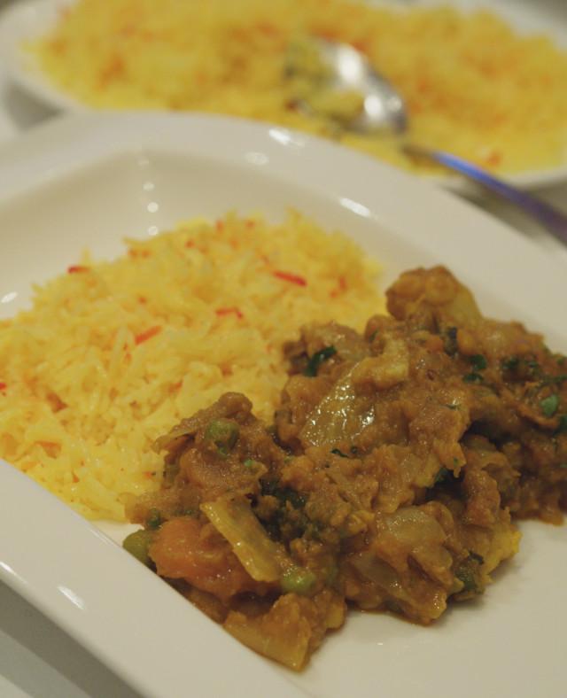 Vegan Jhal Annaj with pilau rice at Voujon, Edinburgh