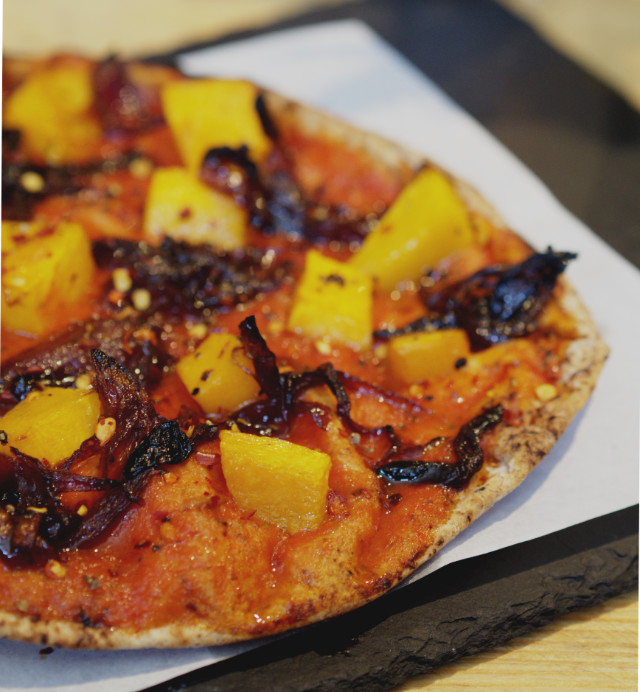 Vegan butternut squash flatbread pizza at Woodland Creatures, Edinburgh