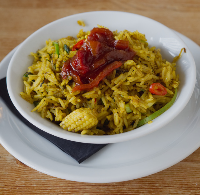 Vegan kedgeree at Akva, Edinburgh