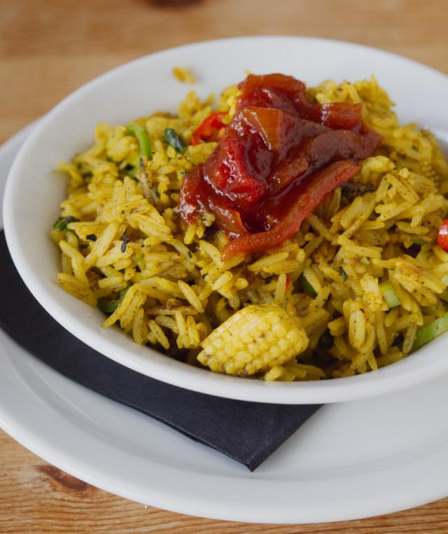 Vegan kedgeree at Akva, Edinburgh