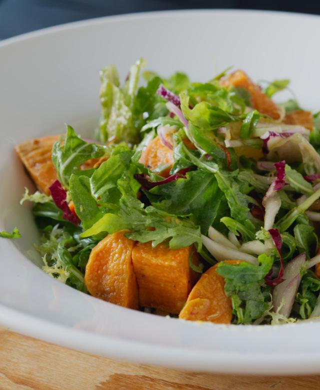 Vegan spicy sweet potato salad at Akva Edinburgh