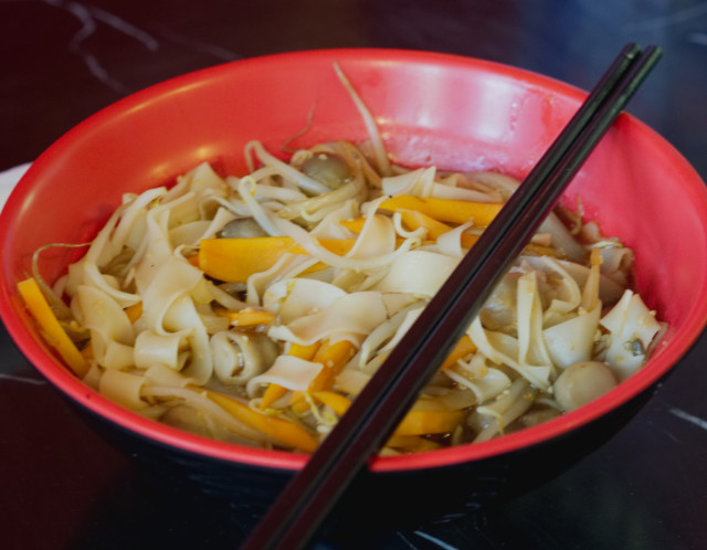 Carrot, mushroom and tofu ho fun noodles