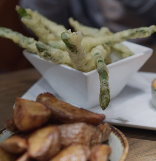Deep fried asparagus at Indigo Yard, Edinburgh