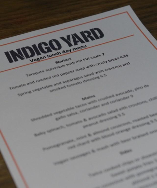 Vegan Menu at Indigo Yard, Edinburgh