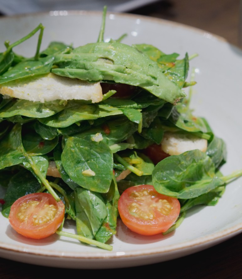Spinach salad at Indigo Yard, Edinburgh