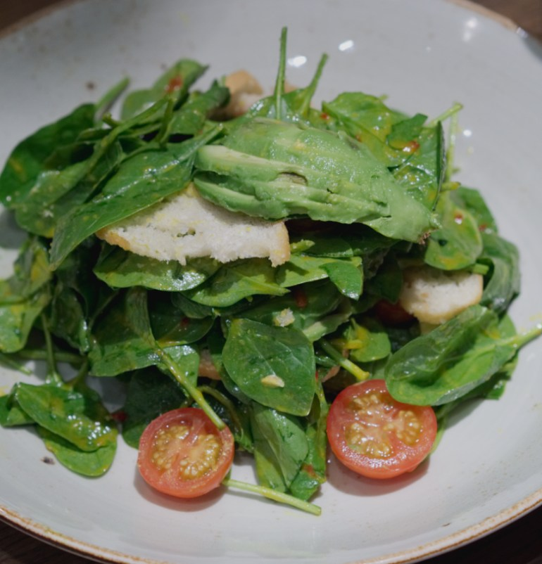 Spinach salad at Indigo Yard, Edinburgh