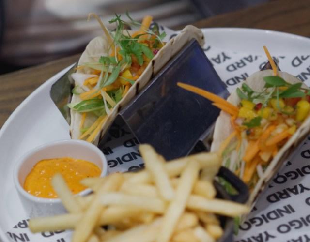 Vegan tacos at Indigo Yard, Edinburgh