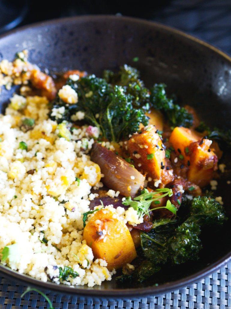 Vegan cous cous and tagine at Malmaison, Edinburgh