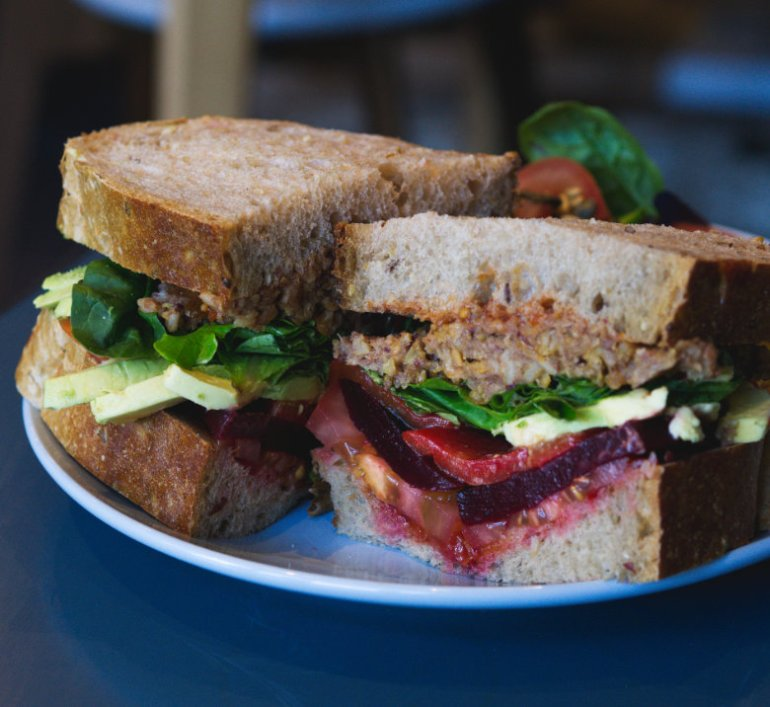 Vegan club sandwich at 305 Kitchen Edinburgh