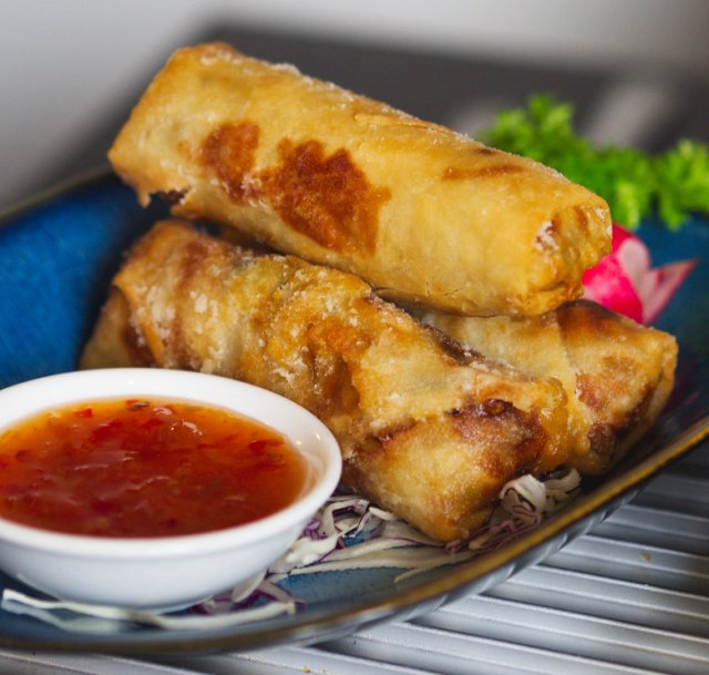 Vegan spring rolls at Chinese Manor House, Edinburgh