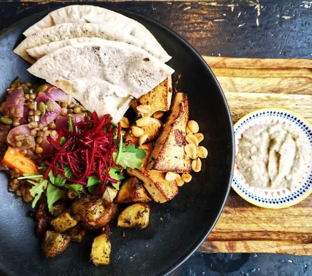 Vegan tofu soul bowl at Ransacked Black Oven, Edinburgh