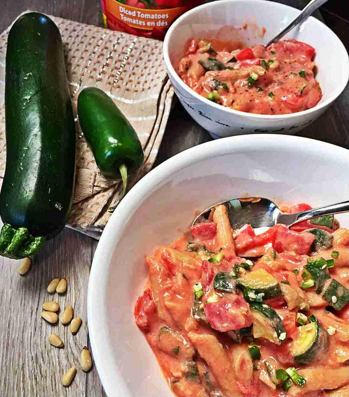 Pasta with Zucchini & Creamy Tofu Sauce - 30 Minutes