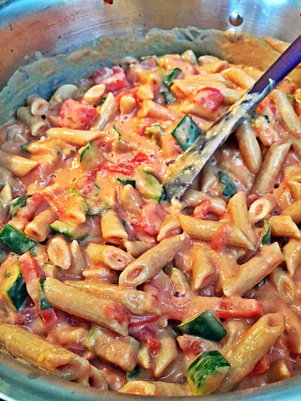 Vegan Creamy tomato zucchini pasta penne tofu soup