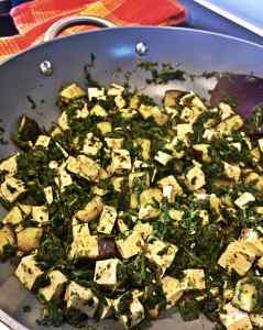 Vegan Indian Palak Paneer Tofu Eggplant Side Dish