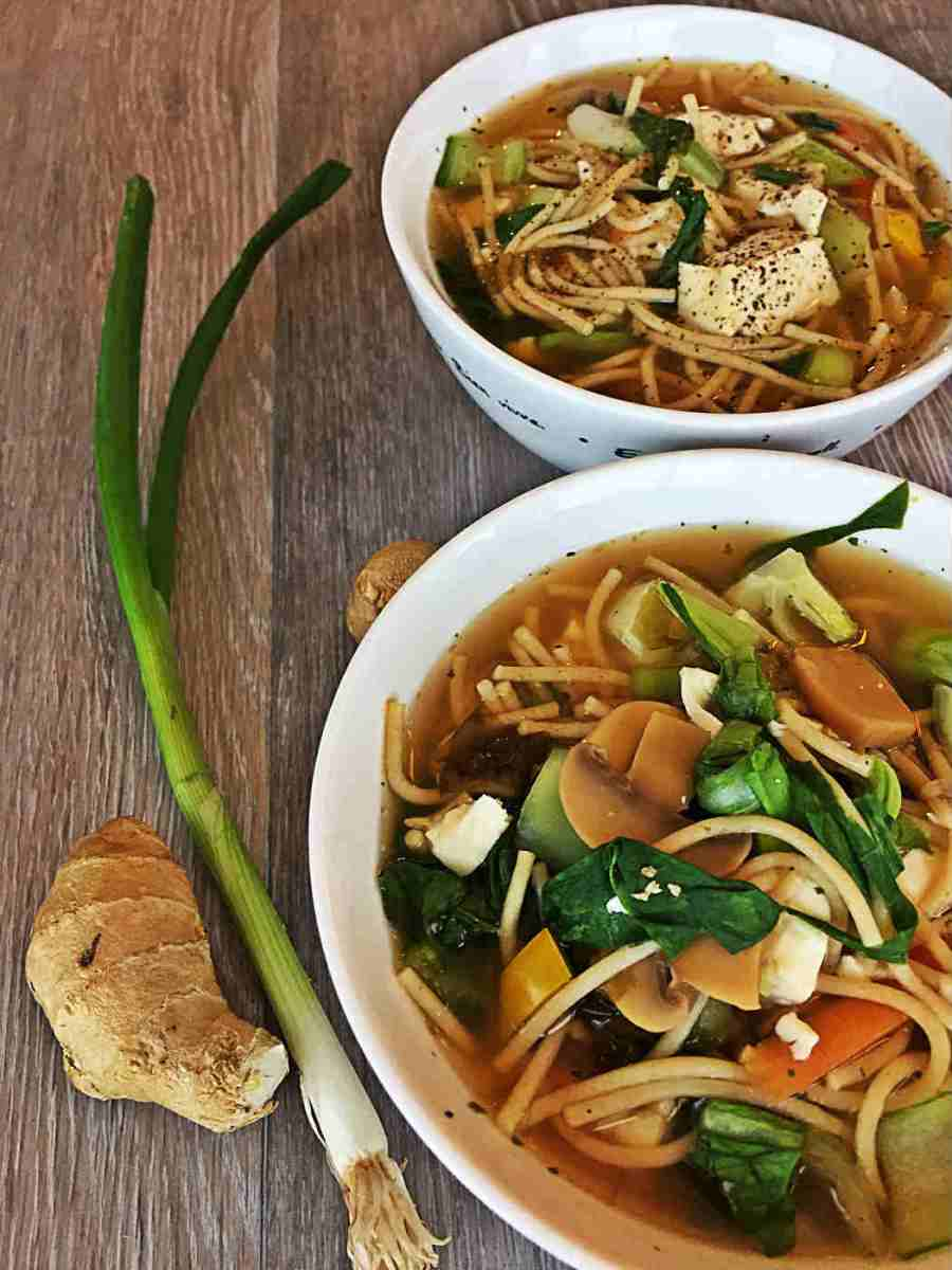Bok Choy Silken Tofu Noodle Soup (Source of Calcium!)
