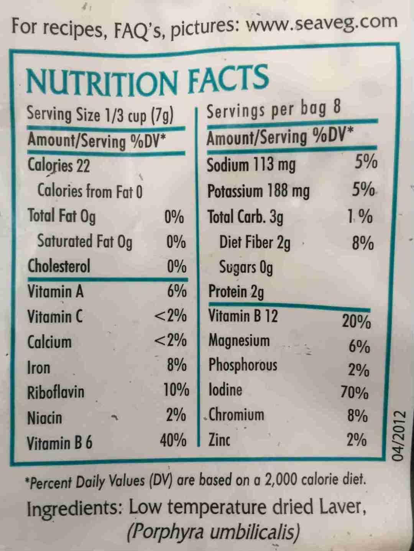 Laver Nori Nutrition Facts