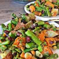 Vegan Asparagus Black Bean and Roasted Sweet Potato Salad - No Oil, 30 Minute Dinner
