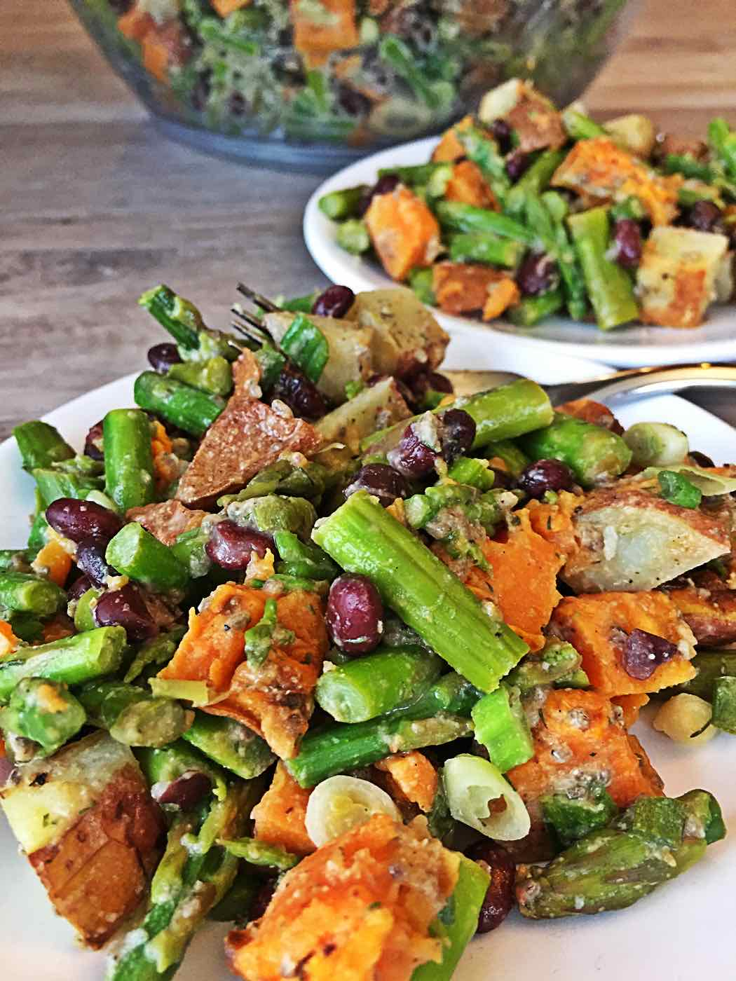 oil-free sweet potato asparagus black bean salad