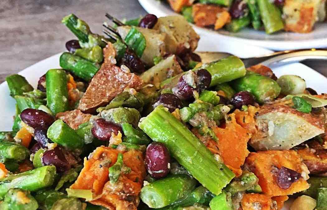 Vegan Asparagus Black Bean and Roasted Sweet Potato Salad – No Oil, 30 Minute Dinner