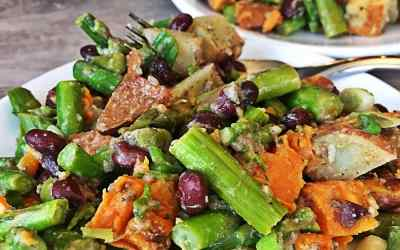 Vegan Asparagus Black Bean and Roasted Sweet Potato Salad – No Oil, 30 Minute Dinner