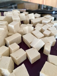 Raw tofu cubes
