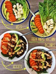 Image of kids vegan bowls with plain tofu and adult vegan bowls with spinach and spicy chipotle chickpeas.