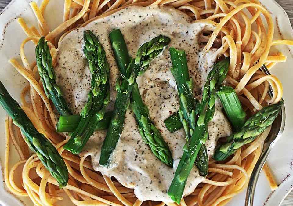 Wonderful White Bean and Walnut Sauce with Linguine and Asparagus
