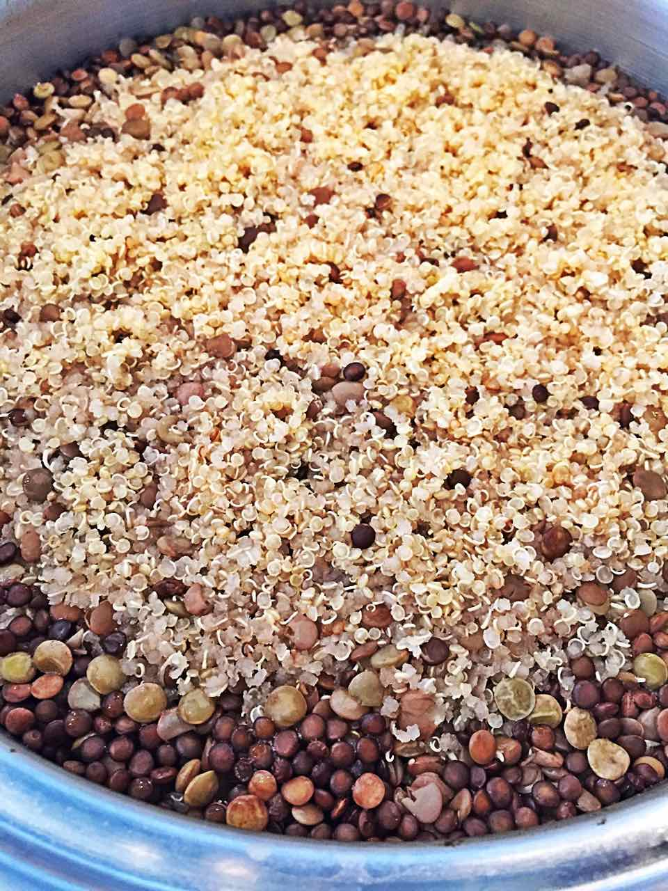Cooked Quinoa and Lentils in One Pot