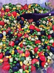Easy Healthy WFPB Bean Tomato Cucumber Pasta Salad