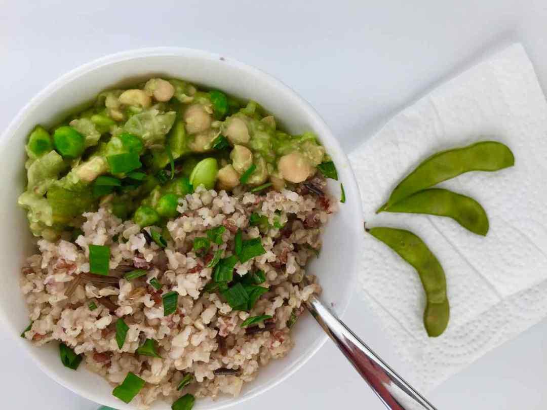 chickpea avocado edamame rice bowl