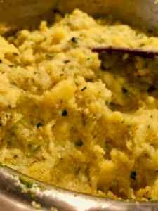 vegan no-oil cornmeal polenta with zucchini