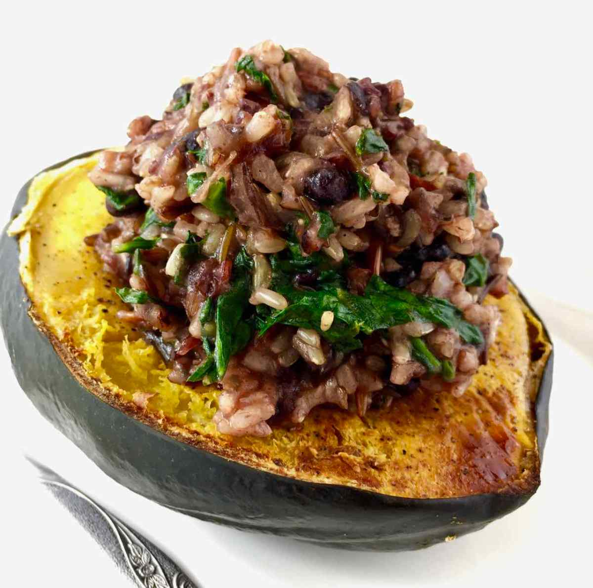 Garam Masala Baked Acorn Squash - Stuffed With Cranberry Rice
